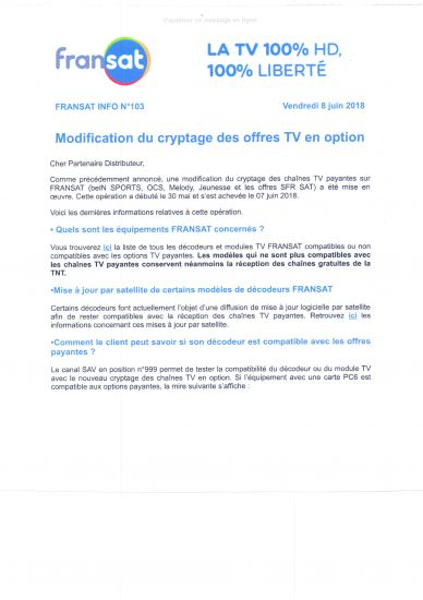 modification du cryptage des offres TV en option FRANSAT